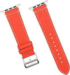 Smartwatch Bands watch belt, watch band 2020 Update Version Quick Release Leather Watch Bands 22mm with connector for Apple Watch Series 1/2/3/4/5 Genuine Leather Watch Strap for Men Women (red, 42/44mm)
