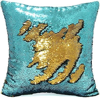 Sirena funda de almohada, Play Tailor magia reversible de lentejuelas de almohada Caso cubierta del amortiguador 40x40cm (Verde azulado-Oro)
