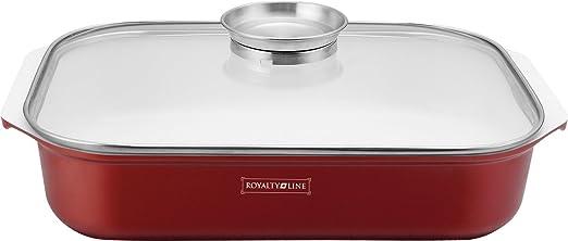 Bandeja de horno con tapa de vidrio, marca Royalty Line: Amazon.es ...