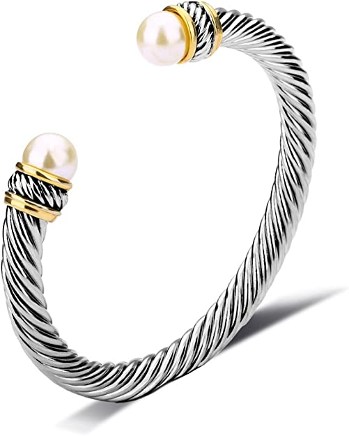 Image result for UNY Fashion Jewelry Brand Cable Wire Bangle Elegant Beautiful Imitation Pearl Valentine