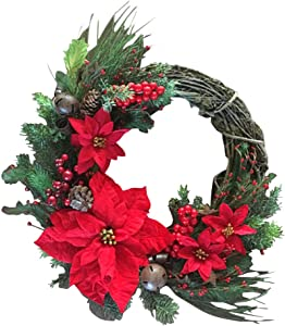 Artificial Poinsettia Wreath|Fake Berry Pinecone Wreath|Handcrafted Garland Design|11.8in Silk Leaves Wreath with Bell|for Christmas Front Door Outdoor Indoor Garden Office Wedding Decor