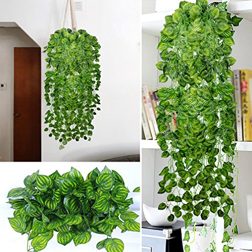 fc95b1f17 RERXN 4 Bunchs Artificial Ivy Vine Greenery Fake Hanging Plant ...