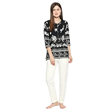 41813167e2 Valentine Night Suit for Women - Black and White Lounge Set for Women -  Floral Top and Pyjama Set Night Wear for Ladies Night Suit for Women - Set  of 2  ...