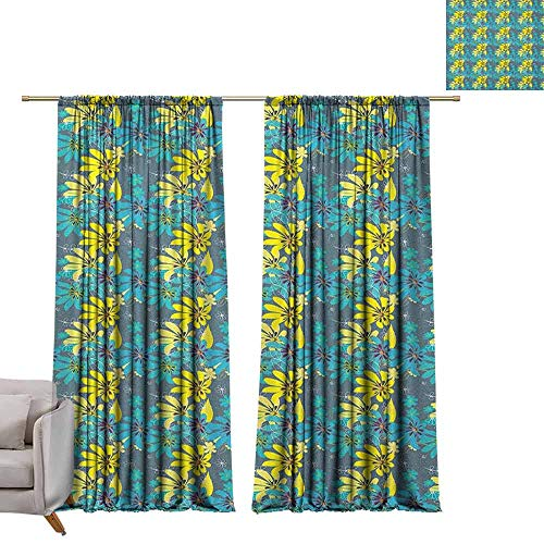 berrly Best Blackout Curtains Yellow and Blue,Abstract Flowers with Hand Drawn Daisies and Leaves Exotic Bedding Plants, Multicolor W84 x L108 Blackout Curtain Set