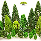 MOMOONNON 36 Pieces Model Trees 1.36-6 inch Mixed Model Tree Train Scenery Architecture Trees Fake Trees for DIY Crafts, Building Model, Scenery Landscape Natural Green