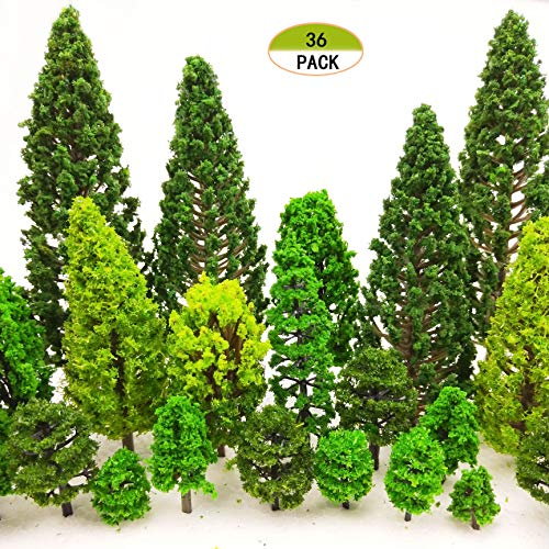 MOMOONNON 36 Pieces Model Trees 1.36-6 inch Mixed Model Tree Train Scenery Architecture Trees Fake Trees for DIY Crafts, Building Model, Scenery Landscape Natural Green (Trees Scale O)