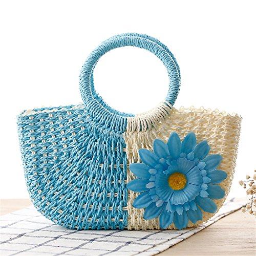 Blu a Dunland Sun borsa paglia Piccolo ragazze Borsa Pochette da fiore donna Naturale borsa di mano Z1HqwE1