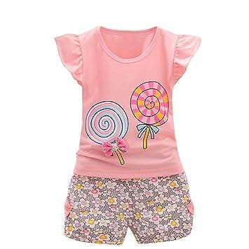 LuckyGirls Bebé Niñas Camisetas Manga Cortos Impresión del Caramelo Blusas + Pantalones Cortos Estampado de Floral