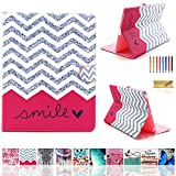 iPad 2/3/4 Case, Dteck(TM) Cartoon Cute Pattern PU Leather Flip Wallet Case with [Cards Slots&Money Holder] for Apple iPad 2/ iPad 3 / iPad 4 9.7 Inch (01 Red Waves)