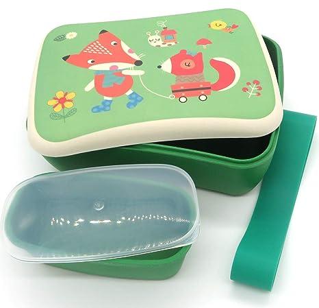 Conjunto Sandwichera y Tupper de bambú. Material ecológico sin BPA, Apto para lavavajillas. Lonchera Infantil, niños, bebé (Zorrito)