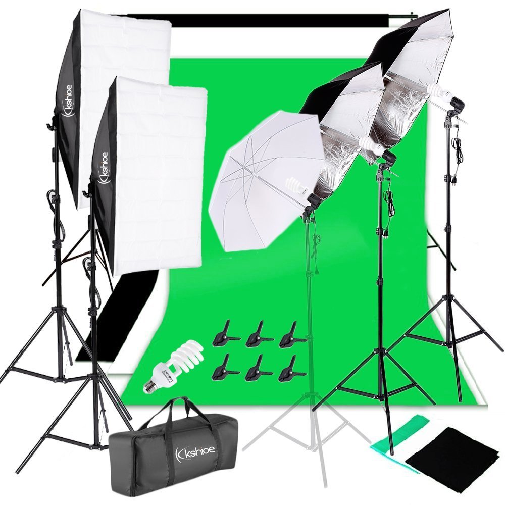 Kshioe 2M x 3M/6.6ft x 9.8ft Background Support System and 900W 6400K Umbrellas Softbox Continuous Lighting Kit for Photo Studio Product,Portrait and Video Shoot Photography by Kshioe