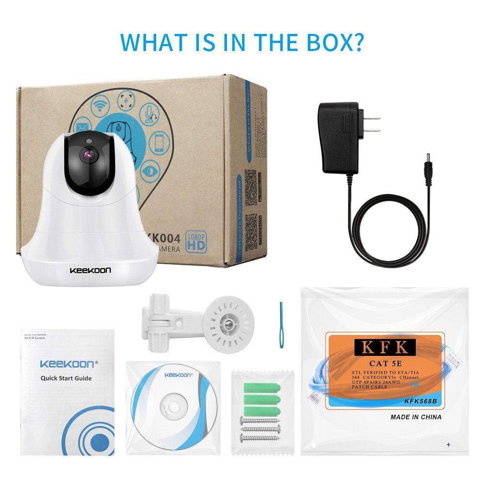 Wireless IP Camera,KEEKOON Two-Way Audio Night Vision 2.4GHz /& 1080P for Pet Baby Monitor /… KK05B
