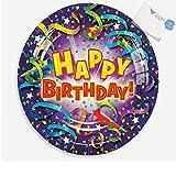 Bargain World Purple Birthday Design Paper Dessert Plates (With Sticky Notes)