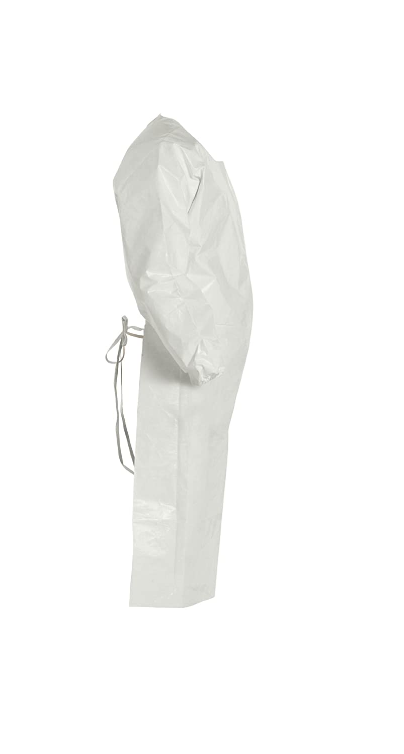White DuPont Tychem 4000 Disposable Sleeved Chemical Resistant Apron with Elastic Cuff and Taped Seams 25-Pack 4X-Large
