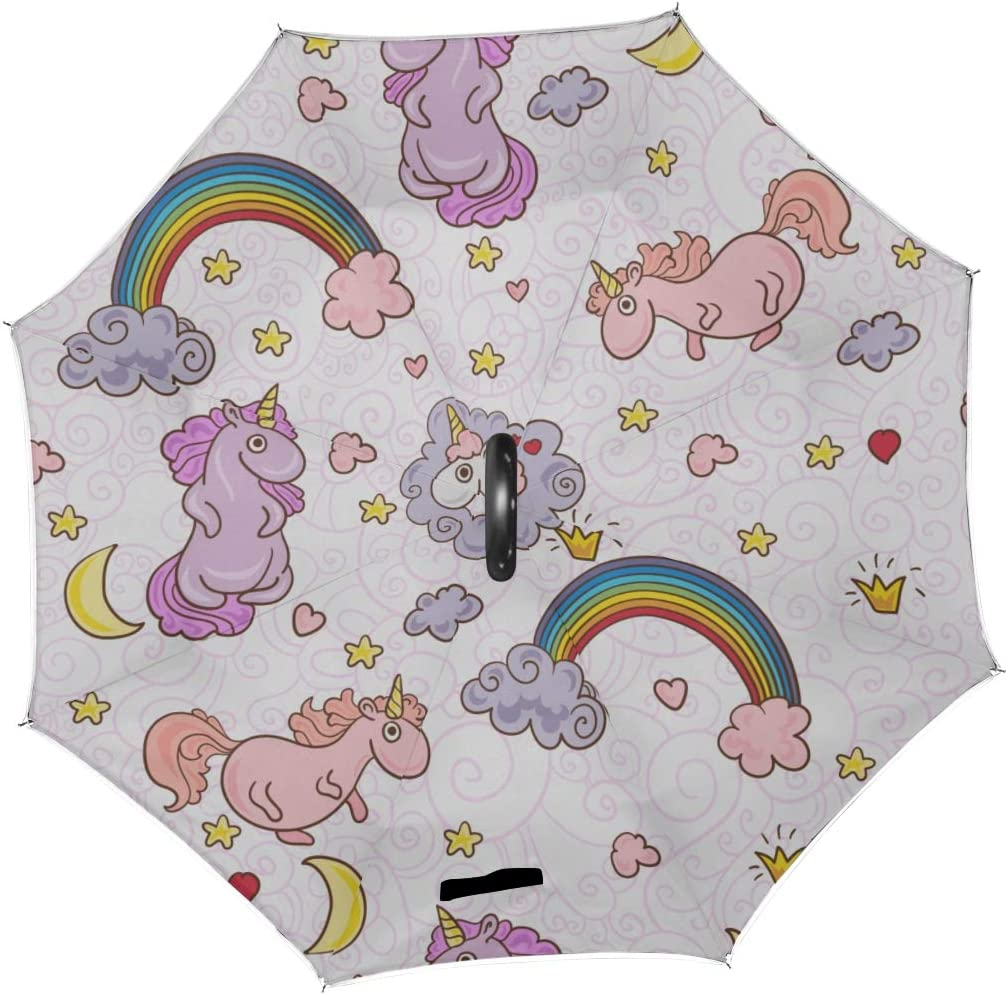 Double Layer Inverted Inverted Umbrella Is Light And Sturdy Cute Unicorns Reverse Umbrella And Windproof Umbrella Edge Night Reflection
