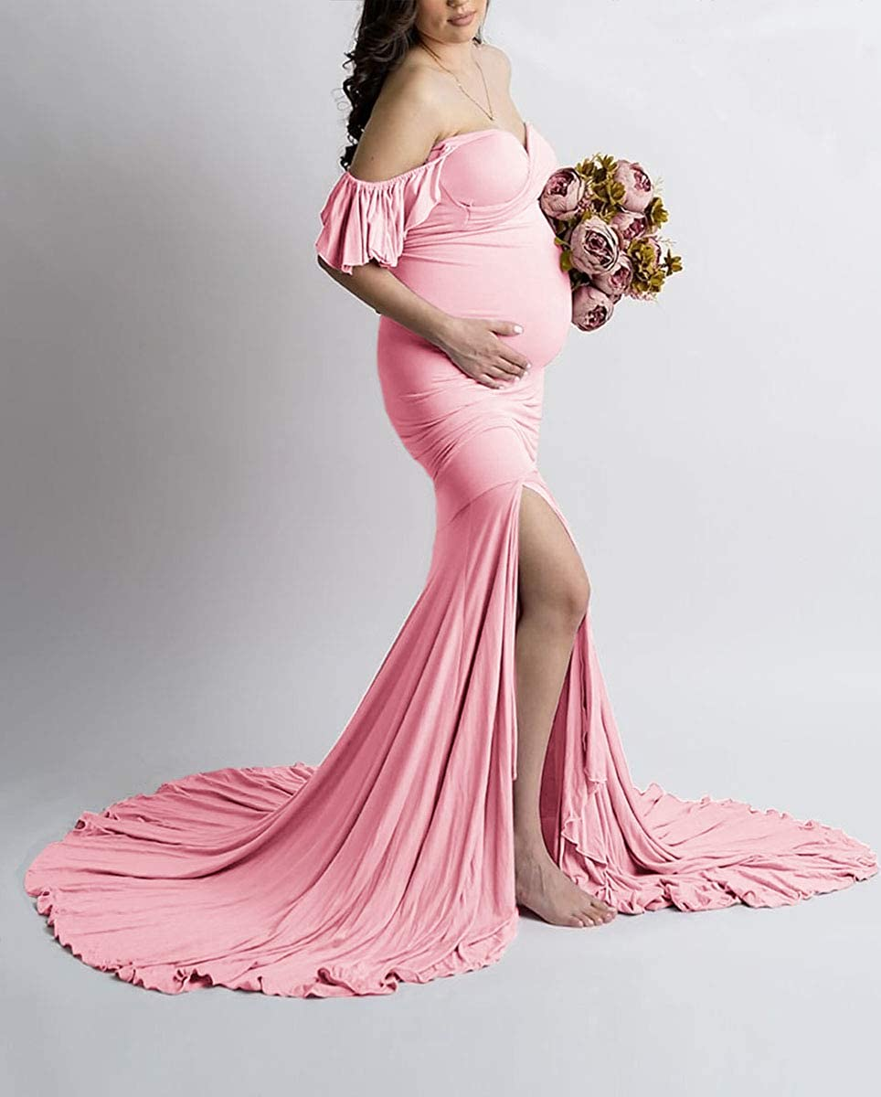Saslax Off Shoulder Ruffle Sleeves Elegant Fitted Maxi Maternity Dress for Photoshoot Baby Shower