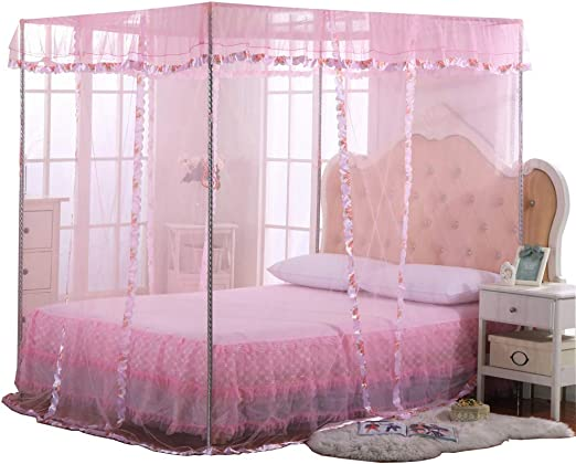 Amazon Com Jqwupup Mosquito Net For Bed 4 Corner Canopy For Beds Canopy Bed Curtains Bed Canopy For Girls Kids Toddlers Crib Bedroom Decor Full Size Pink Home Kitchen