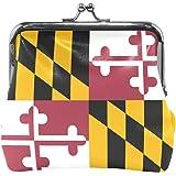Maryland State Flag Coin Purse Mini Leather Hasp Handbag