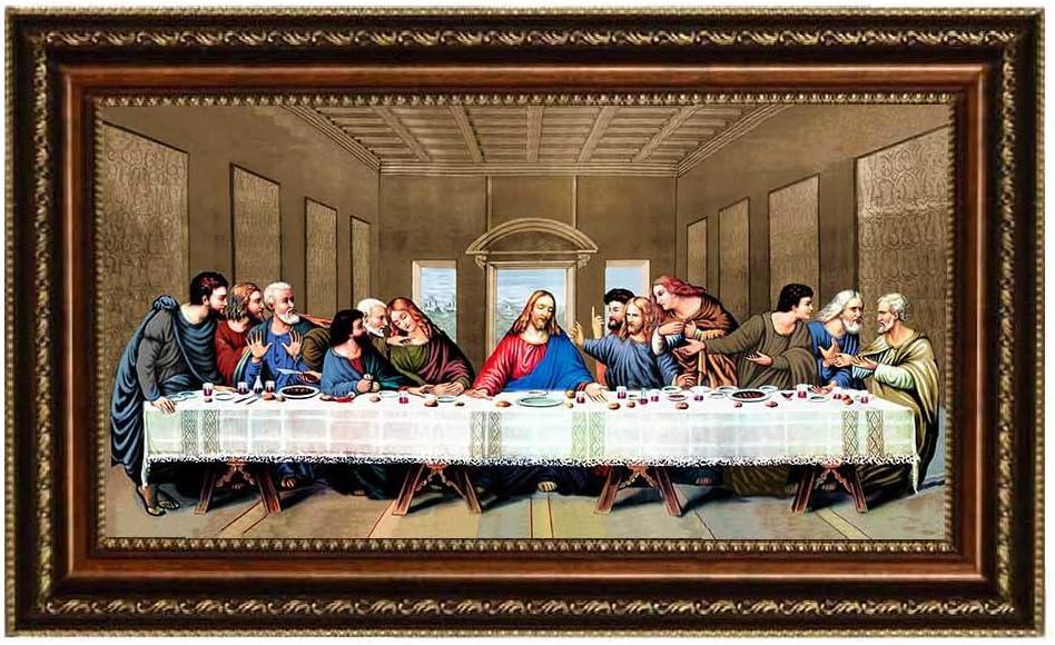 "Eliteart- Jesus Christ The Last Supper by Leonardo da Vinci Giclee Art Canvas Prints Framed Size:29""x17"""