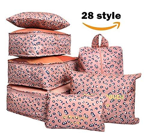 7 Set Travel Cubes,5 Colors Waterproof Mesh Durable Luggage Packing Organizers,1 Travel Shoe Bag,6 Set Packing Cubes (Pink (Travel Set)