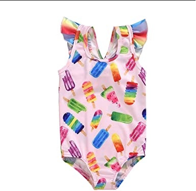 Toddler Baby Girl Kids Swimwear Floral Printed Bikini Swimsuit Beach One Piece