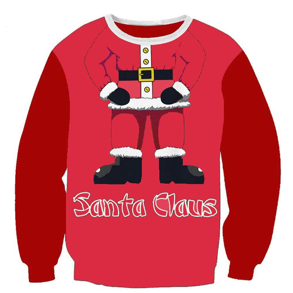 AMUSTER Damen Weihnachten Sweatshirt Rundhals Langarm Pullover Tops Bluse Weihnachtspullover 3D Unisex Druck Pullover Weihnachten Pullover Ugly Christmas Sweater