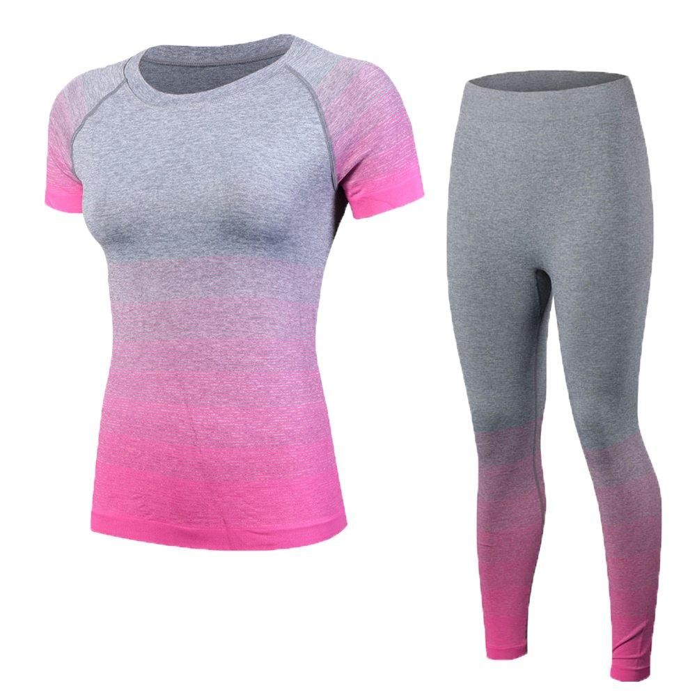 Shimmery Women's 2-Piece Stretch Activewear Short Sleeve T-Shirt Top + Pants Workout Set Rose M