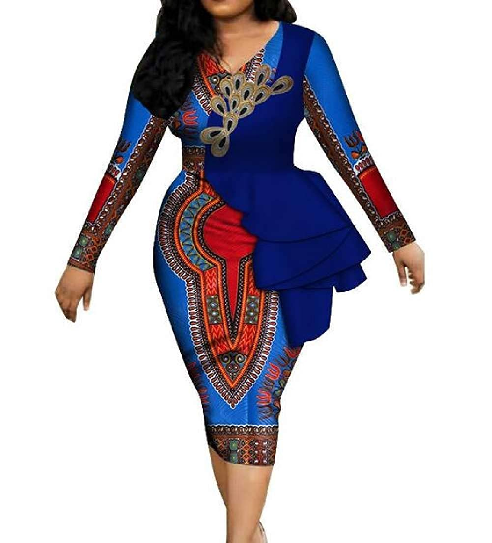18 CRYYU Women VNeck Ruffle African Print Dashiki Long Sleeve Party Pencil Dress
