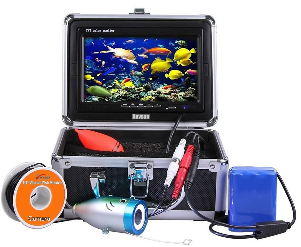 Underwater Fish Finder Anysun® Professional Fishing Video Camera with 7'' TFT Color LCD Hd Monitor 700tvl CCD 15M Cable Length with Carry Case, Fun to See Fish Biting by Anysun