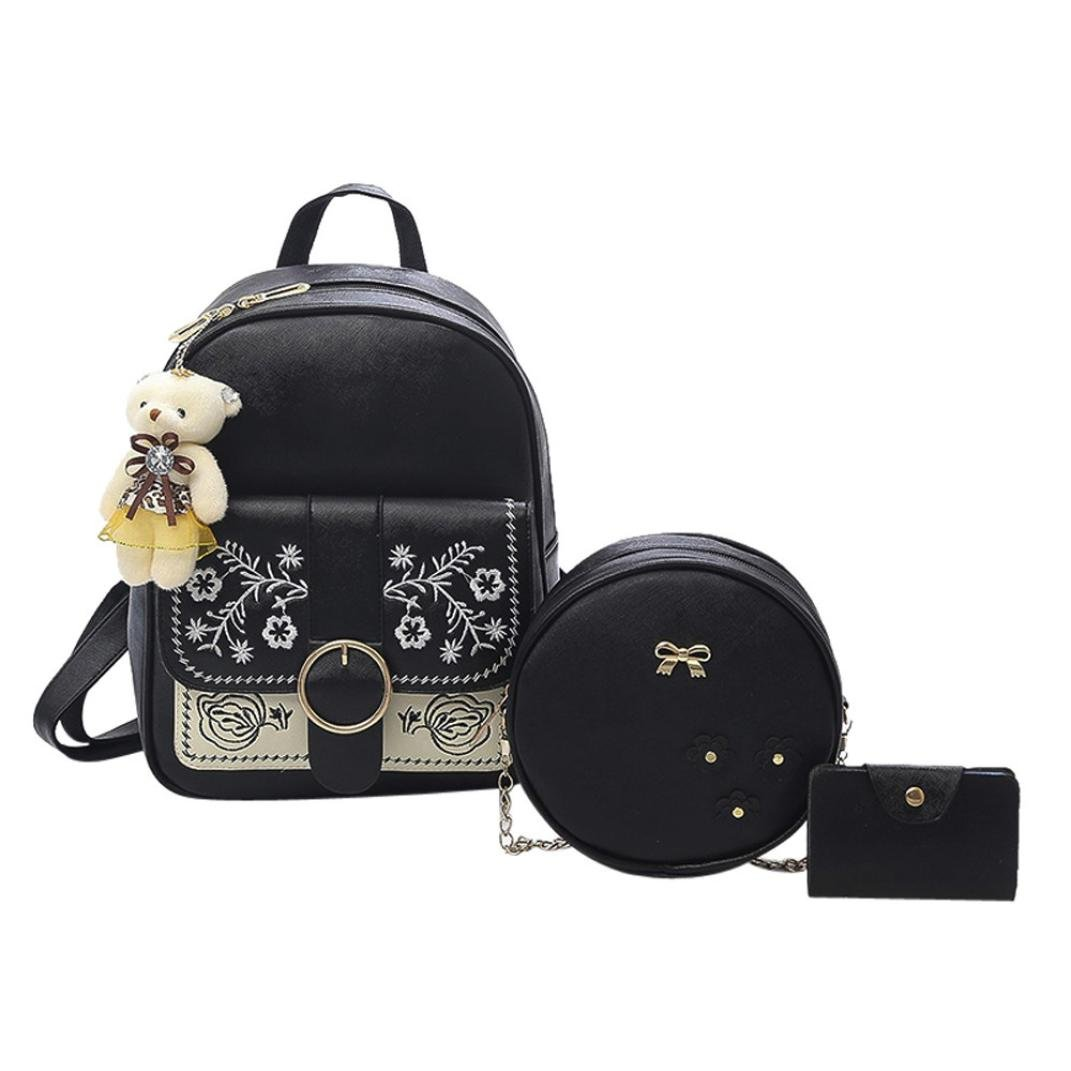 3 Piece Gotd Womens Girls Embroidery School Backpacks Shoulder Bag Chain Leather Wallet Mini Purse Card Holder Clutch Messenger Handbag Tote on sale Clearance travel kids Coin Phone Purse (Black)