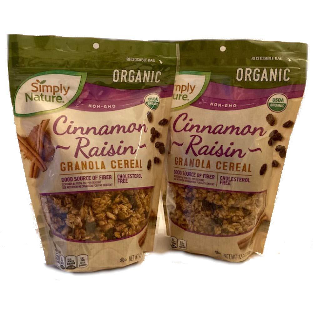 Simply Nature Organic Cinnamon Raisin Granola (Pack of 2 x 12 oz bags)