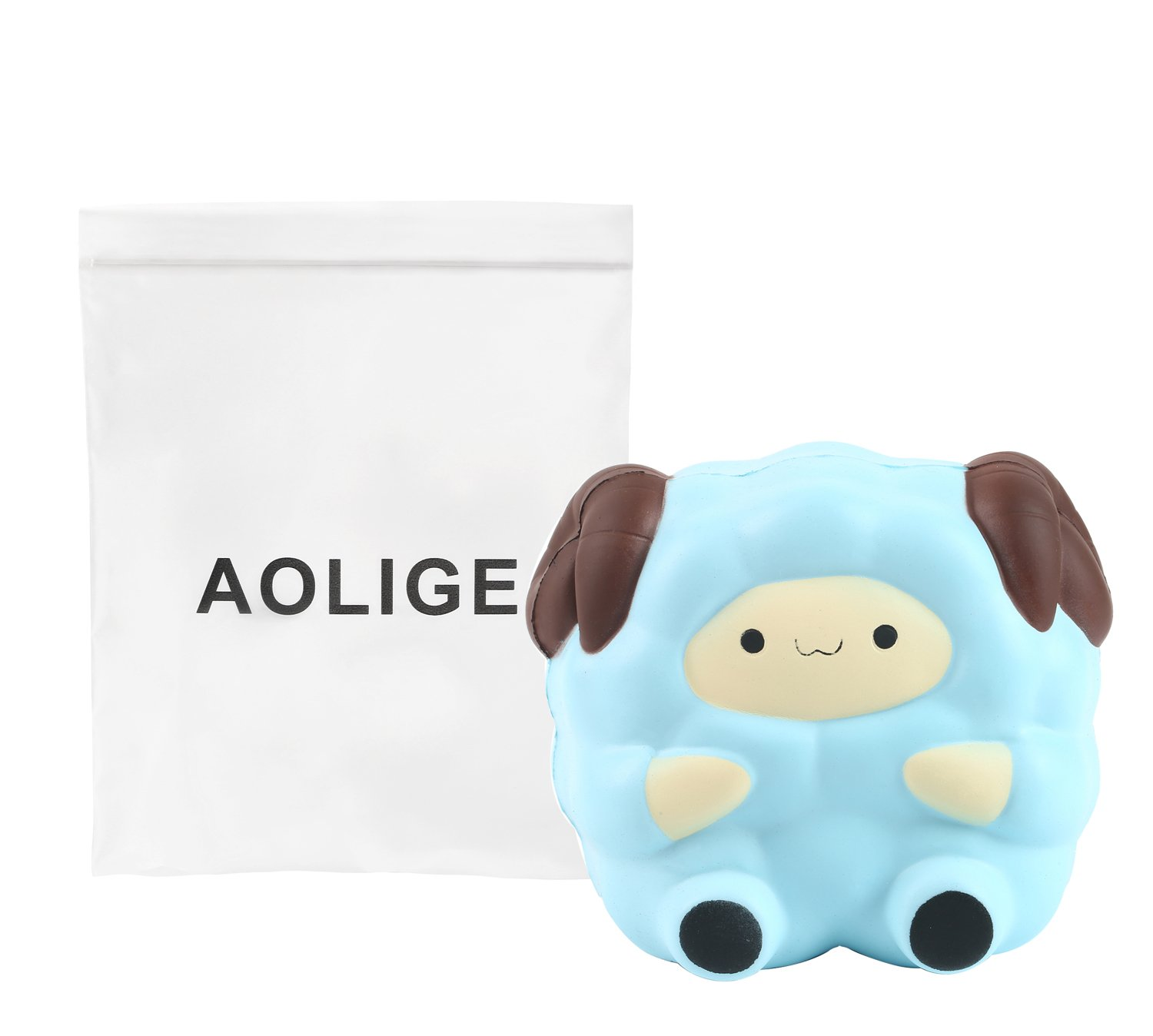 Aolige 5.2 Jumbo Squishies Kawaii Blue Lamb Cream Scented Slow Rising Decompression Squeeze Toys Children Simulation Cute Sheep Toys MiaoZhen
