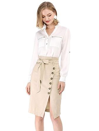 17a8c2db3c Allegra K Women's Asymmetrical Button Decor Front Split Belted Vintage Midi  Pencil Skirt XS Biege