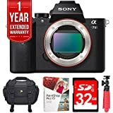 "Sony Alpha 7II Mirrorless Interchangeable Lens Camera - Body Only (ILCE7M2/B) w/32GB Bundle Includes, Digital Camera Padded Carrying Case + 12"" Rubberized Spider Tripod + 32GB SDHC Memory Card"