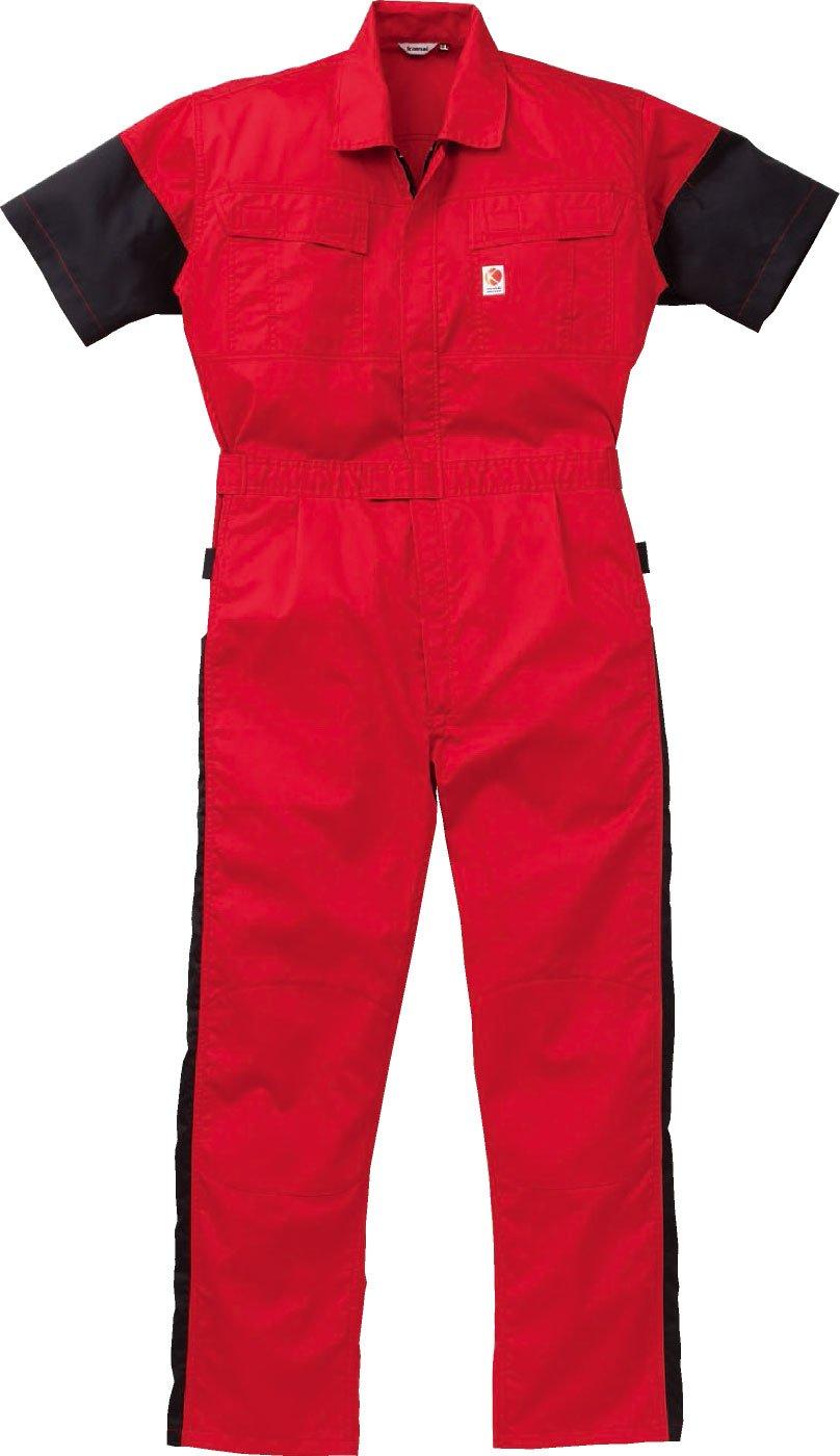 (カンサイユニフォーム) Kansai uniform半袖つなぎ 山本寛斎 カラーライン ab-KM-257 B008H1VCEM LL|ブラック