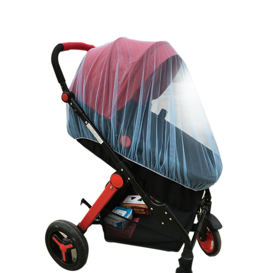 Premium Baby Mosquito Insect Net For Stroller, Blue Soft and Clean, Size 59''x47'', 1 Jingle Bell Decoration Included