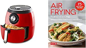 Dash Deluxe Electric Air Fryer + Oven Cooker, 1700-Watt, 6 Quart, 6qt, Red & DCB001AF Air Fryer Recipe Book for Healthier + Delicious Meals, Snacks & Desserts, Over 70+ Easy to Follow Guides, Cookbook