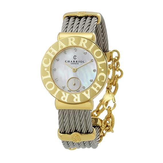 Charriol de la mujer de St Tropez vestido de acero inoxidable reloj de cuarzo suizo
