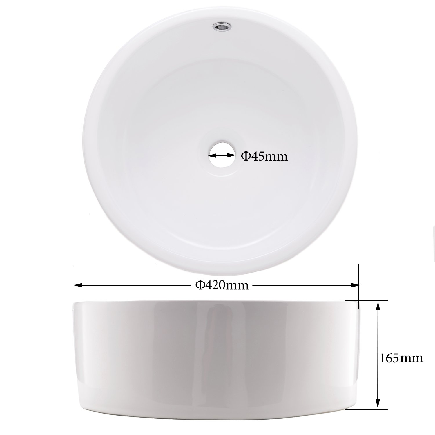 Hotis White Porcelain Ceramic Countertop Bowl Lavatory Round Above Counter Vanity Bathroom Vessel Sink by HOTIS HOME (Image #6)
