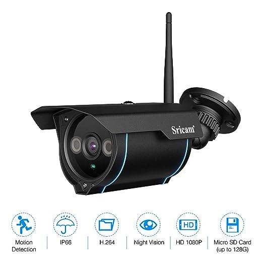 Sricam Seguridad IP Cámara de Viginancia Inalámbrica 1080P ONVIF ,CCTV, P2P, Detección de Movimiento, Visión Nocturna,2.0 Megapíxeles, Expansión de ...