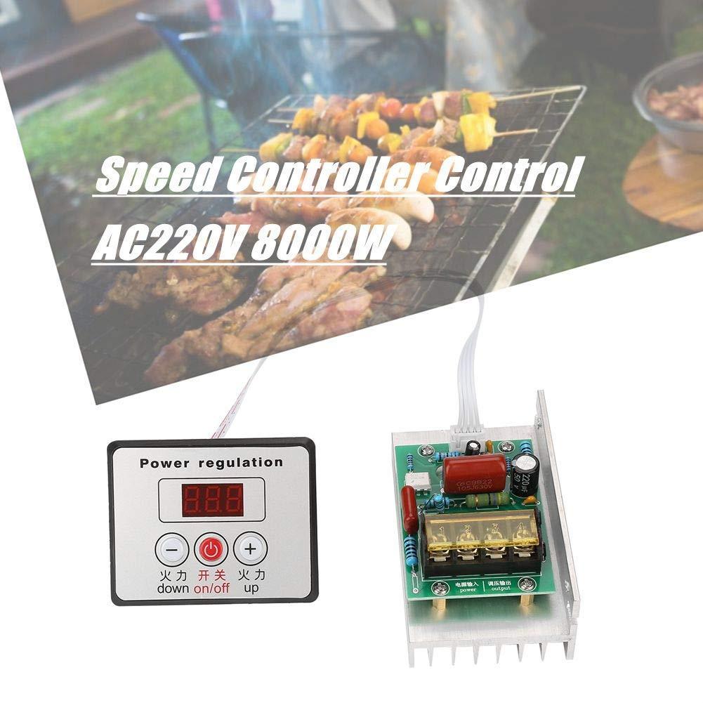 Cable Controlador de la placa Convertidor ajustable Tubo de calefacci/ón Regulador de voltaje AC220V 8000W SCR Alimentaci/ón Controlador electr/ónico velocidad M/ódulo control del motor con bot/ón