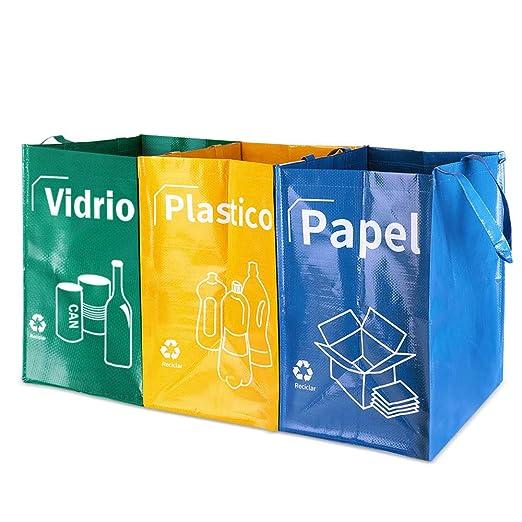 Opret Bolsas Basura Reciclaje 3 Pack Cubo de Reciclaje Separadas con Asas Gran Capacidad 40L para Papel, Vidrio y Plástico, Ideal para ...