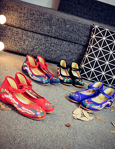 Fanwer Mary Jane Canvas Phoenix Embroideried Women Soft Sole Chinese Shoes Casual Flats Red dv7CBU