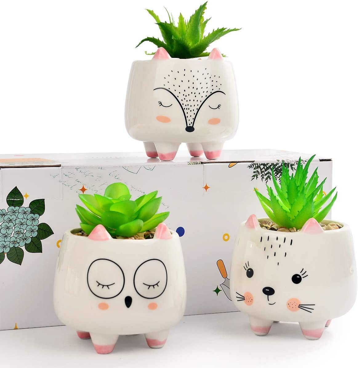 3 Assorted Small Artificial Succulents Potted with White Porcelain Pots Fake Plants in Ceramic Animal Planter Gift Set for Home and Office Decor (Owl & Fox & Cat)