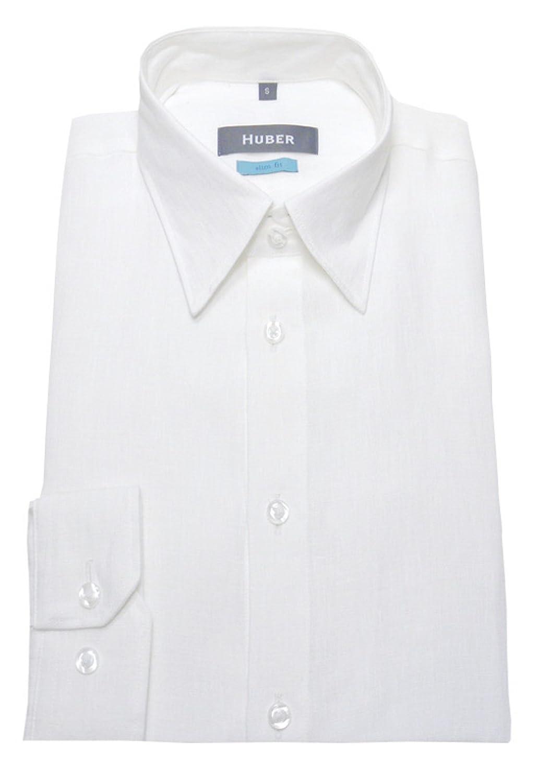 HUBER Leinen Hemd weiß Made in EU. Slim Fit HU-90371  Amazon.de  Bekleidung 805eff679b