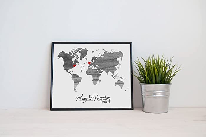 Amazon world map love wedding gift personalized state natural world map love wedding gift personalized state natural series custom location modern art print long distance gumiabroncs