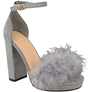 Fashion Thirsty Womens Fluffy Marabou Sandals High Block Heel Platforms Size New 10