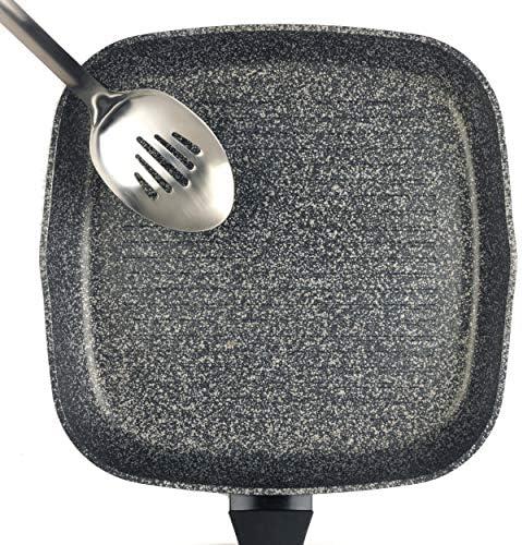 Salter Poêle grill antiadhésive en aluminium forgé Megastone Collection BW05752S, 28cm, argent