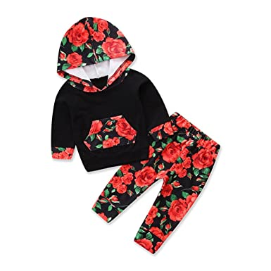 Samgami Baby Baby Clothes Set Girls Boys Clothing Floral Print Hooded Tops Pants Toddler Suit (
