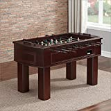 American Heritage Carlyle Series 390001 Tournament Size and Quality Foosball Table with Two Ball Returns Adjustable Leg Levelers Cup holders with Leather Inserts and 3-Man Goalie System in Espresso
